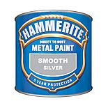 Hammerite Direct to Rust Metal Paint Smooth Finish Silver 250ml