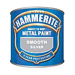 image of Hammerite Direct to Rust Metal Paint Smooth Finish Silver 250ml