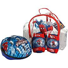 image of Spiderman Helmet, Knee & Elbow Pad Backpack Set
