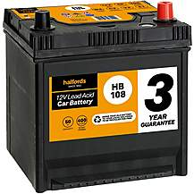 Halfords 3 Year Guarantee HB108 Lead Acid 12V