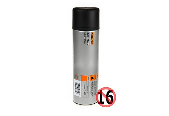 Halfords Satin Black Spray Paint 500ml