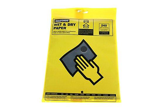 Halfords Wet & Dry Sanding Paper 240 Grit