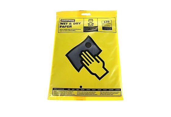 Halfords Wet & Dry Sanding Paper 120 Grit