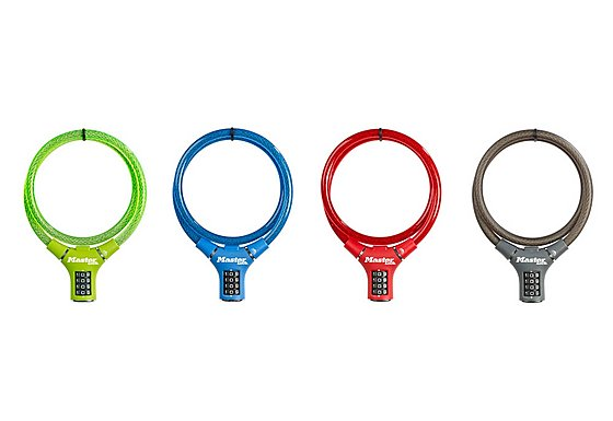 Master Lock Braided Steel Cable Lock 4 Pack - Assorted Colours - 0.90m x 12mm