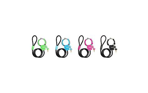 image of Master Lock Braided Steel Cables 1m x 8mm with Cuff Lock - Assorted Colours (4 Locks)