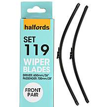 Halfords Set 119 Wiper Blades - Front Pair