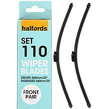 image of Halfords Set 110 Wiper Blades - Front Pair