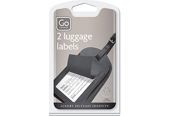 Go Travel Leather Luggage Labels (Twin Pack)