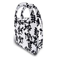 image of Basil Mirte Shopping Bike Bag - Black & White Leaves Print 16L