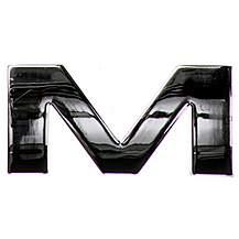 image of Chrome Letter Badge M
