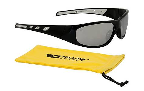 image of Yellow Jersey Wrap Sunglasses - Black/Silver
