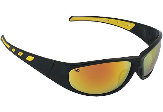 Yellow Jersey Plastic Wrap Sunglasses - Black/Red