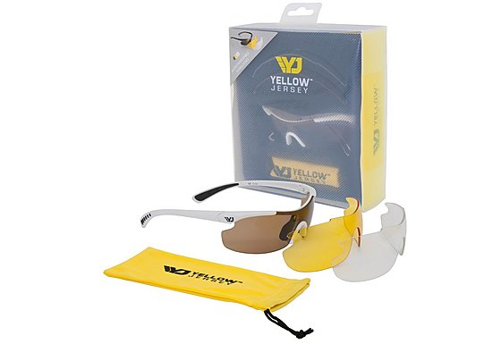 Yellow Jersey Sunglasses with Interchangeable Lens - White