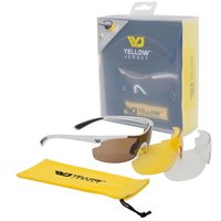 Yellow Jersey Sunglasses with Interchangeable Lenses - White