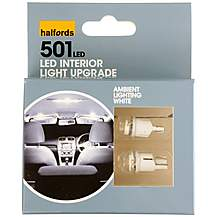 image of Halfords 501 W5W White Interior Upgrade  Car Bulbs x 2