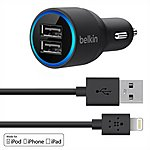 image of Belkin Dual USB Car Charger with Lightning Cable