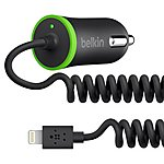 image of Belkin Micro Car Charger 2.1 Amp with Coiled Lightning Cable