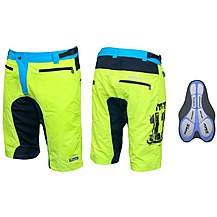 image of FORCE MTB-11 Shorts, Yellow/Blue