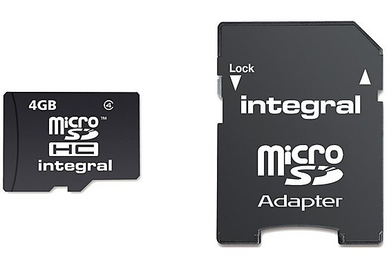 Integral Micro SD 4GB Memory Card & SD Adapter