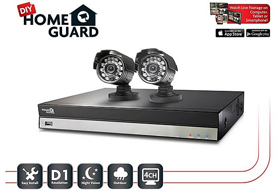 Homeguard 4 Channel 2 Camera 500GB DIY CCTV Kit