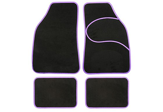 Halfords Carpet Car Mats Purple Trim