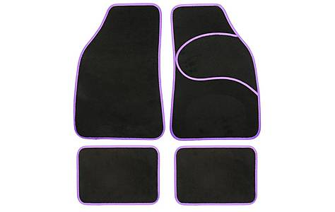 image of Halfords Carpet Car Mats Purple Trim