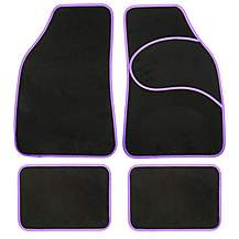 image of Halfords Carpet Car Mats Purple Trim