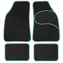 image of Halfords Carpet Car Mats Green Trim