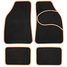 image of Halfords Carpet Car Mats Orange Trim
