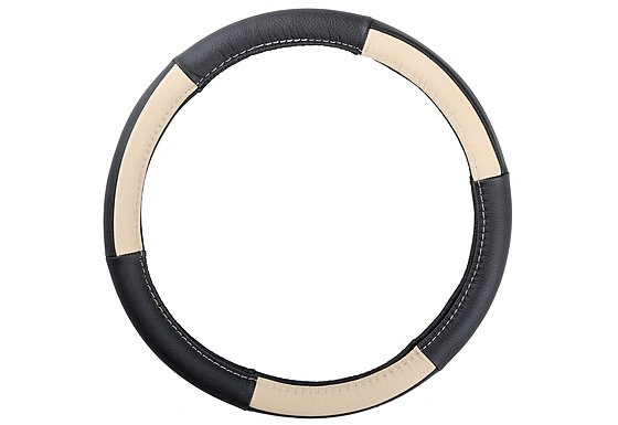 Ripspeed Leather Steering Wheel Cover - Black/Cream