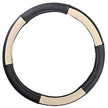 image of Ripspeed Leather Steering Wheel Cover - Black/Cream