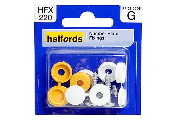 Halfords Number Plate Screws & Caps (HFX220)