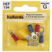 image of Halfords Assorted Ring Terminals 5, 15 & 35 Amp (HEF194)