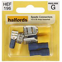 image of Halfords Assorted Male & Female Spade Connectors 15 & 35 Amp (HEF196)