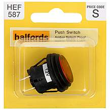 image of Halfords Push Switch On/Off Splash Proof Amber (HEF587)