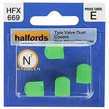 image of Halfords Tyre Valve Dust Caps Green (HFX669)