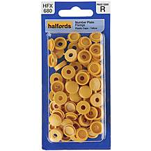 image of Halfords Number Plate Plastic Caps Yellow (HFX680)