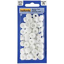 image of Halfords Number Plate Plastic Caps White (HFX681)