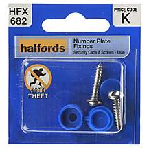 image of Halfords Number Plate Screws & Plastic Caps Blue (HFX682)