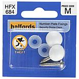 Halfords Number Plate Security Screw & Domed Cap White (HFX684)