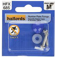 image of Halfords Number Plate Security Screw & Domed Cap Blue (HFX685)