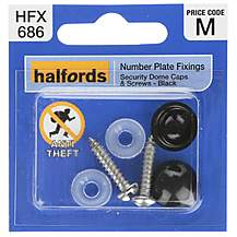 image of Halfords Number Plate Security Screw & Domed Cap Black (HFX686)
