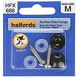 Halfords Number Plate Security Screw & Domed Cap Black (HFX686)