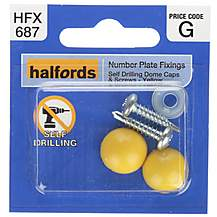 image of Halfords Number Plate Self Drill Screw & Cap Yellow (HFX687)
