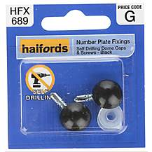 image of Halfords Number Plate Self Drill Screw & Cap Black (HFX689)