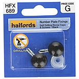 Halfords Number Plate Self Drill Screw & Cap Black (HFX689)