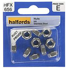 image of Halfords Nuts Stainless Steel M6 (HFX656)