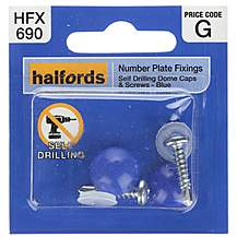 image of Halfords Number Plate Self Drill Screw & Cap Blue (HFX690)