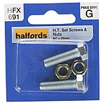image of Halfords Set Screws & Nuts M7 x 25mm (HFX691)
