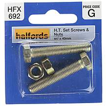 image of Halfords Set Screws & Nuts M7 x 40mm (HFX692)
